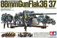 Tamiya WWII German 88mm Flak 36/37 Gun + Transporters and Figures model kit 1/35