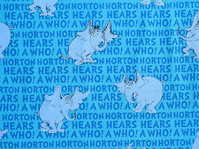 "DR SEUSS  HORTON HEARS A WHO ELEPHANT  COTTON FABRIC ROBERT KAUFMAN  16"" REMNANT"