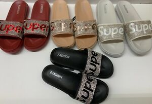 New fashion super rhinestone women black beige red flat slide slippers-size 5-9