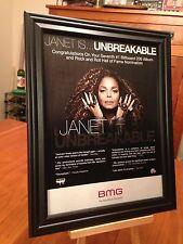 "BIG 10x13 FRAMED ORIGINAL JANET JACKSON ""UNBREAKABLE"" #1 LP CD ALBUM PROMO AD"