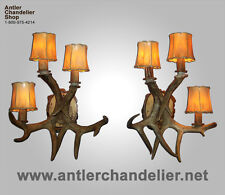 REAL ANTLER 3 LIGHT WHITETAIL SCONCE  Rustic Lamps, ACS Lights, Chandelier SC-3