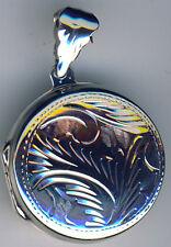 "925 Sterling Silver Round Engraved Locket Pendant  23mm diameter  7/8"""