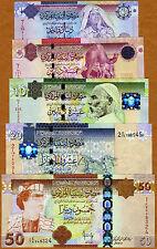 SET, Libya, 1;5;10;20;50 Dinars, (2008-2009), P-71;72;73;74;75, UNC --> Gaddafi