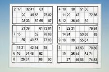 15 laminierte Bingoblätter 90er System (glänzend)