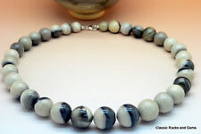 Gebänderter Feuerstein Edelsteinkette Striped Banded Flint Gemstone Necklace