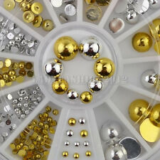Mixed 6 Sizes Gold Silver Round Flat Back Metal Nail Art Studs Decals Gems Wheel