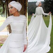 Crystal/Diamante Satin Long Sleeve Wedding Dresses