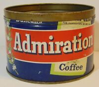 Vintage 1950s ADMIRATION COFFEE GRAPHIC KEYWIND COFFEE TIN 1 POUND HOUSTON TEXAS