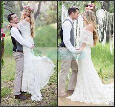 New Dreamy Bohemian Wedding Dress Lace Off Shoulder Boho Bridal Gown Custom Size