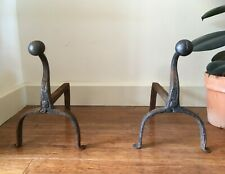 Pair of Rustic Antique 18th / 19thC Wrought Iron Andirons. Fire Dogs Arts Crafts