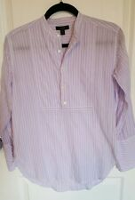 womens top Jcrew half button tunic blouse 0 purple white striped long sleeve