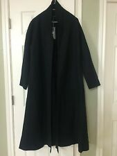 MEDIUM NWT EILEEN FISHER BLACK BOILED WOOL SHAWL COLLAR LONG COAT