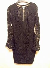 BNWT❤️LIPSY❤️Size 10 BLACK LACED FLUTE SLEEVED Party Prom Cocktail Dress New