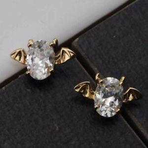 Stylish Nice Bat White CZ Gems Jewelry Yellow Gold Filled Stud Earrings h2951