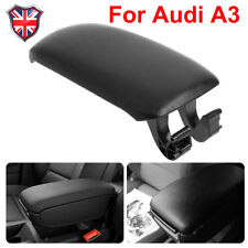 For Audi A3 8P 2003-2013 Leather Center Console Armrest Lid Cover Black Leather