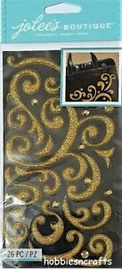 GOLD PUFFY FLOURISH WITH GEMS Jolee's Boutique 3-D Ornate Stickers