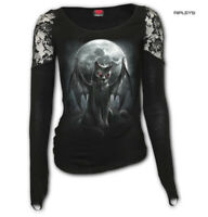 Spiral Direct Ladies Gothic Black Top Vampire VAMP CAT L/Sleeve Lace All Sizes