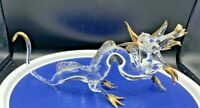 """Dragon Medieval Hand Blown Glass Figurine Crystal Gold 10"""" long 4 1/2"""" tall"""