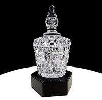 """GERMAN CUT LEAD CRYSTAL CROSSHATCH AND MITRE CUTS 6 1/8"""" CONDIMENT JAR WITH LID"""