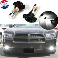 2x 6000K Front Fog Lamp LED Bulbs White 2504 100W For Dodge Charger 2010-2014