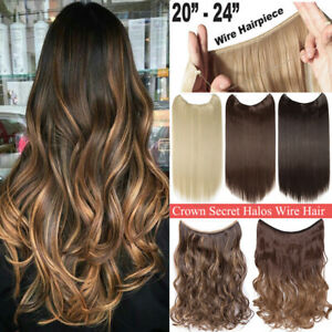 Hidden Halos Invisible Band Wire In Thick One Piece Hair Extensions Mix As Human