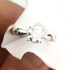 SOLITAIRE ROUND DIAMOND white GOLD ENGAGEMENT RING TCW0.75 H VS2 GIA 18k bridal