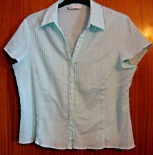 LADIES BHS SHIRT / BLOUSE WITH PIN TUCK DETAIL - MINT GREEN - Size 20
