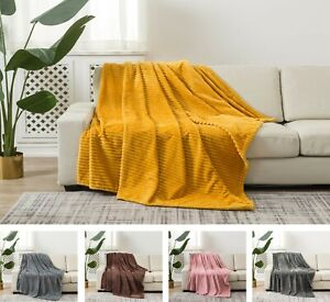 New Sofa Bed Throw Chunky Ribbed Small Large Double King Runner Light Blanket