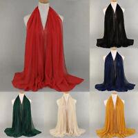 Women Muslim Chiffon Long Scarf Hijab Islamic Shawls Arab Shayla Headwear
