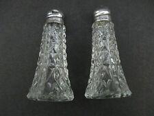VTG Pressed Crystal w/Sterling Tops Salt/Pepper Shakers Pat Appl'd Made In USA
