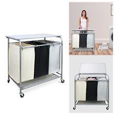 Rolling Laundry Center Basket Cart with Iron Board, Triple Bag Hamper Sorter