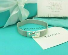"Tiffany & Co RARE Silver Mesh Somerset Weave 6.75"" Bracelet Receipt UK Hallmark!"