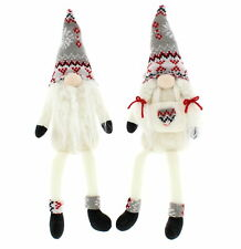 2 x Christmas Gonk Shelf Sitters White & Grey Dangle Legs Gonk Gifts Decorations