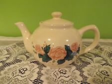 "Vtg Ceramic Teapot Cream White with Pink Roses Heavy Interpur 1989 Tiawan 9""W5""T"