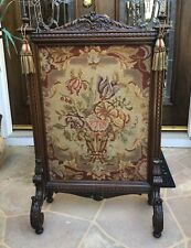 "Antique 1800's Mahogany English Fire Screen Needlepoint FLOWER BASKET, 42"" Tall"