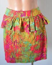 PORTMANS Skirt Sz 10 Medium Peplum Pencil red greeen cotton