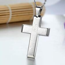 Cross Stainless Steel Pendant Chain Silver Necklace Bible Lord's Prayer