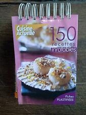 150 recettes inratables / cusine actuelle fiches plastifiées dans un classeur