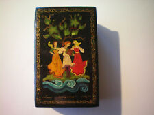 Russian Lacquer Trinket Box Two Women Dancing to Man Playing Music Signed