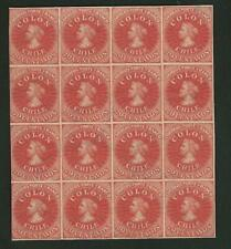 Chile 20c Red-Brown Reprint Block of 16, VF