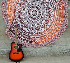 "Cotton Indian Orange Mandala 72"" Round Picnic Beach Rug Bohemian Tapestry New"
