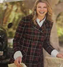 Cabi 165 Manhattan Tartan Plaid Double Breasted Peacoat 8 EUC Wool Blend