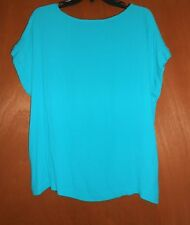Women Top Blouse Cap Sleeve Sz M Solid turquoise sheer Rayon Career summer Loft
