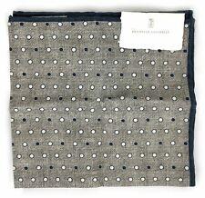 Brunello Cucinelli Gray Cotton Blend Polka Dot Pocket Square