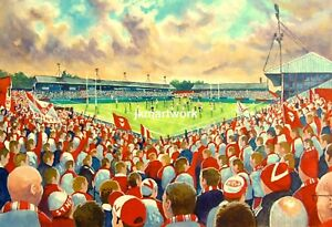 Knowsley Road Stadium Fine Art A4 Print - St Helens Rugby League Club