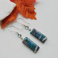 Charoit in Aquamarin Blautopas lila blau Ohrringe Ohrhänger 925 Sterling Silber