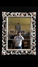 Miroir sculpté feuille argent antique verre bord biseauté baroque mural S13