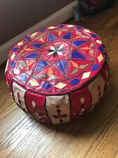 Egyptian Bedouin footstool Pouf Moroccan quilted camel leather Handmade Big 3red