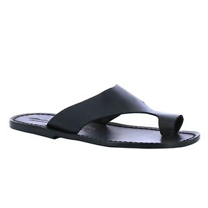 Italian shoes handmade men's flip flops thong slippers in black genuine leather