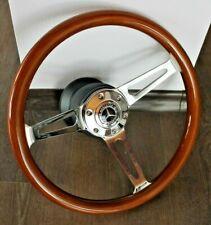 Steering Wheel Mercedes Wood Walnut Chrome W123 W124 W126 W201 R107 Benz 1979-92